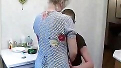 Blonde grandma gets fucked in the kitchen with blue monstercock