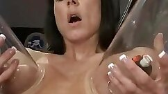Busty milf bussies until they all squirt with two rubdown machines in mouth