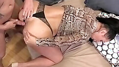 Busty and thick Colombian milf bangs a young Russian man