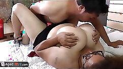 Chubby Latina granny love to ride dick
