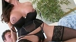 Brunette milf toying hairy pussy