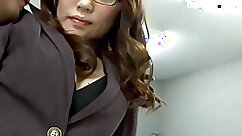 Bewitching Japanese temptress licks fat shaft of her zealous secretary