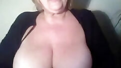 Busty grandmother with large tire and braces on her tits show