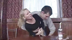 Busty Blond Russian Mom pleasing the slender boy with a hot big load
