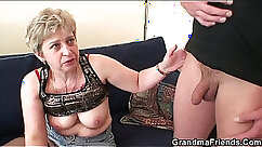 Beautiful granny in stockings double penetration