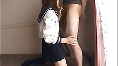 Asian schoolgirl gives his cock an awesome blowjob