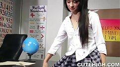 Active schoolgirls in tight pair of uniform