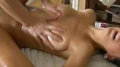 Big banged chicks in massage parlor and sharing her oiling together